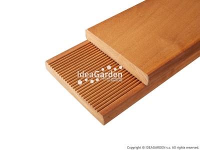 Deska tarasowa Garapa 21x145 [mm] - dł. 2,14 m (drobny ryfel i gładka)